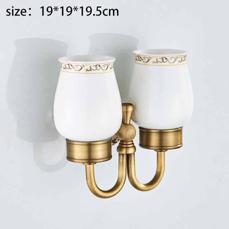 Antique Brass Wall-Mounted Toothbrush Cup Holder with Double Ceramic Cups enlarge