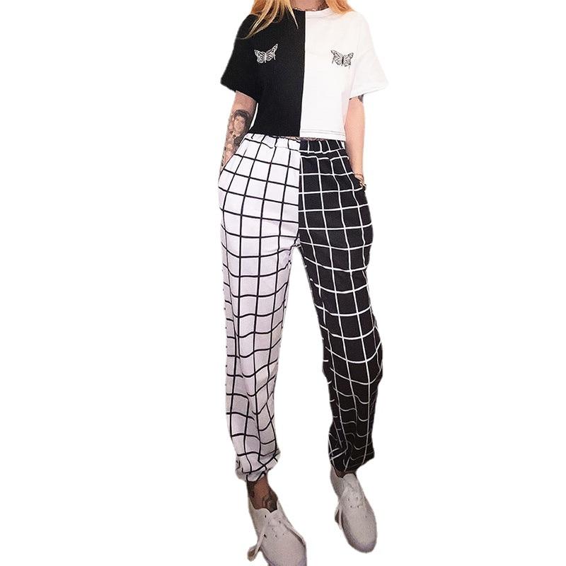 Vintage Plaid Patchwork Pants Harajuku Woman Trousers Elastics High Waist Causal Straight Checkerboard Prited