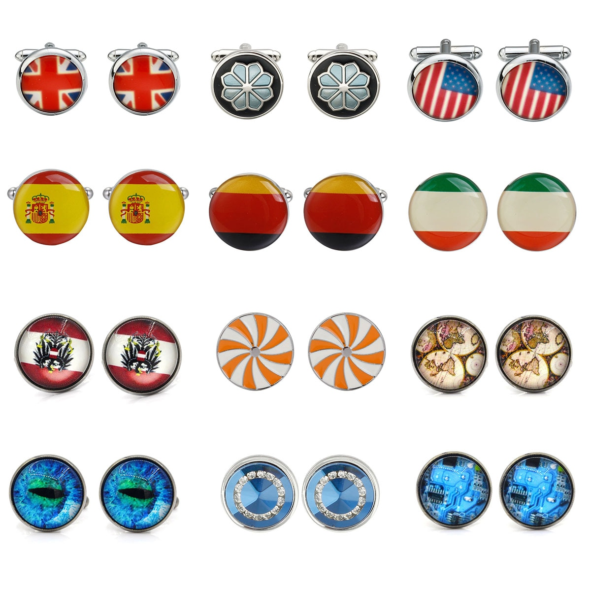 Luxury New Shirt Cufflinks for mens Brand cuff buttons National Flag cuff links gemelos High Quality abotoaduras Jewelry luxury fashion laser engraved check sudoku design cufflink 18 style for mens brand cuff buttons cuff links high quality jewelry