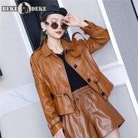 Women Natural Sheepskin Coat Adjustable Waist Single Breasted Slim Fit Ladies Genuine Leather Jacket Windbreaker Biker Outwear