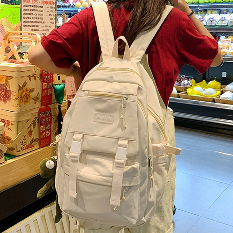 حقيبة ظهر من القماش الكتاني مضادة للمياه للفتيات بلون سادة حقيبة ظهر للنساء 2021 حقيبة ظهر كورية لطيفة حقيبة ظهر Mochilas