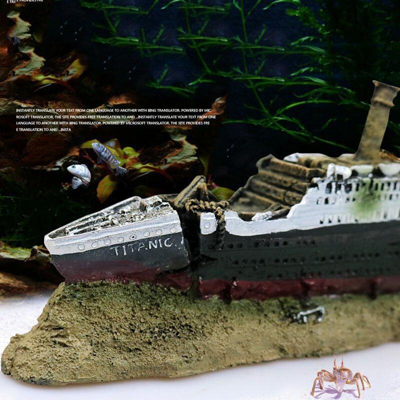 الأسماك خزان الطبيعيه الراتنج تيتانيك خسر دمر قارب سفينة حوض السمك الديكور حلية Acuarios حطام سفينة القراصنة السفينة ديكور hz-384