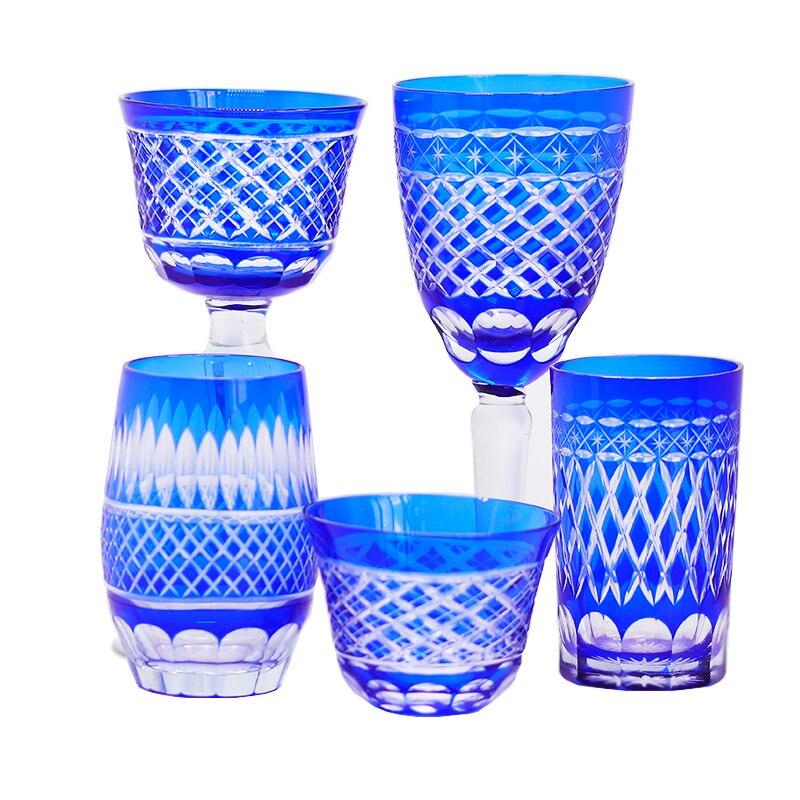 اليد قطع النظارات الملونة ساكي كوب ويسكي كأس كأس النبيذ الأزرق منحوتة