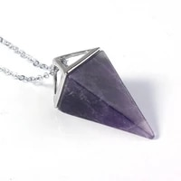 reiki healing natural gem stone pendant necklace women men chain jewelry gold silver plated chakra pyramid pendulum for lovers