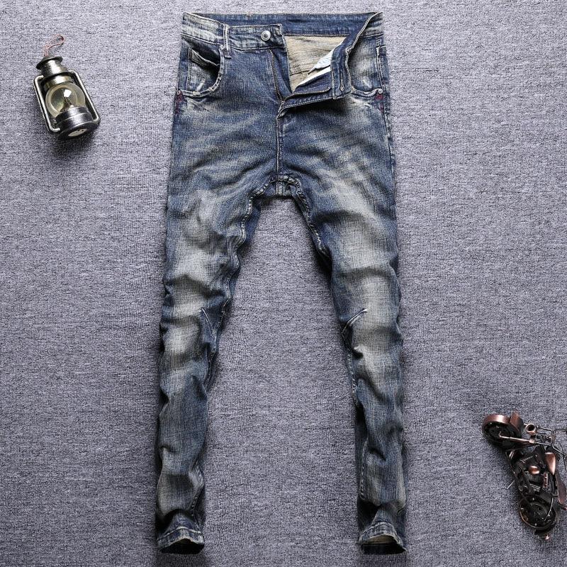 Европейские винтажные модные мужские джинсы ретро темно-синие Эластичные зауженные рваные джинсы мужские потертые Дизайнерские повседнев...