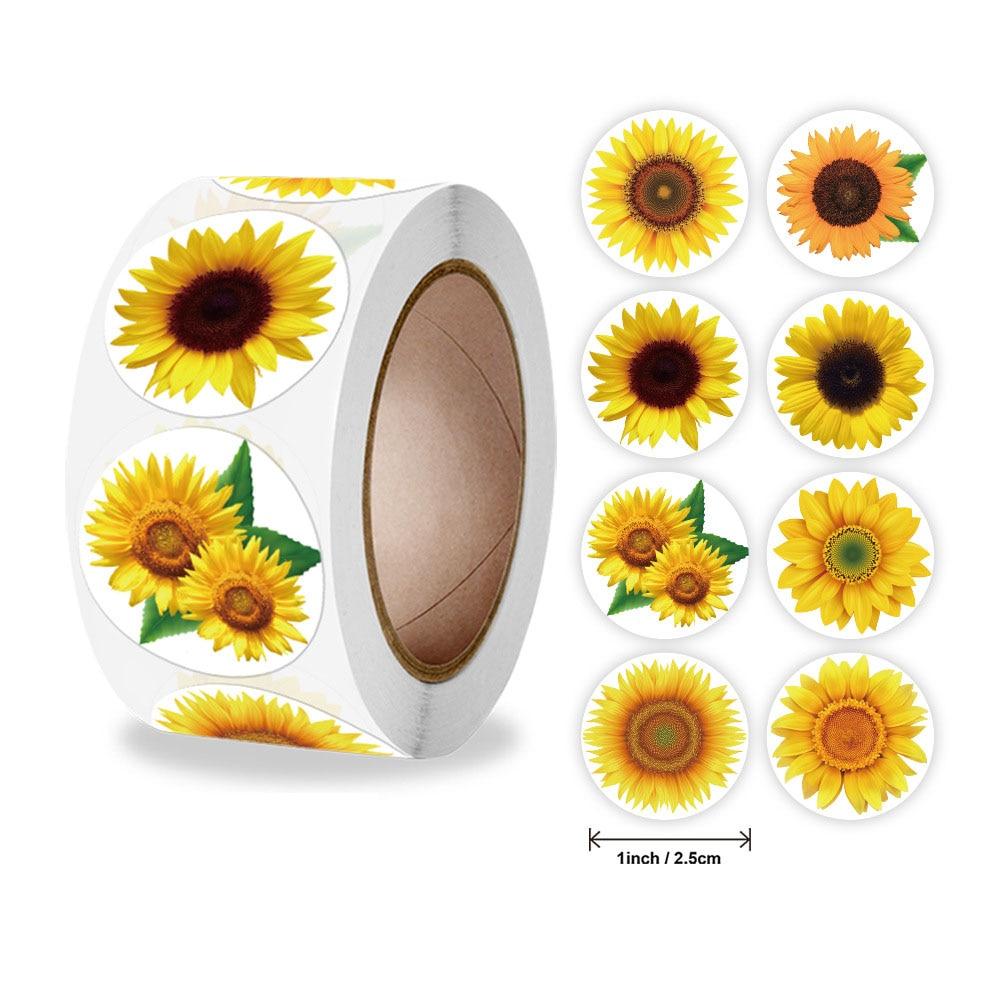 qiduo-500-pz-rotolo-romanzo-girasole-fiori-graziosi-grazie-adesivi-etichette-sigillanti-per-forniture-per-feste-da-forno-fatte-a-mano