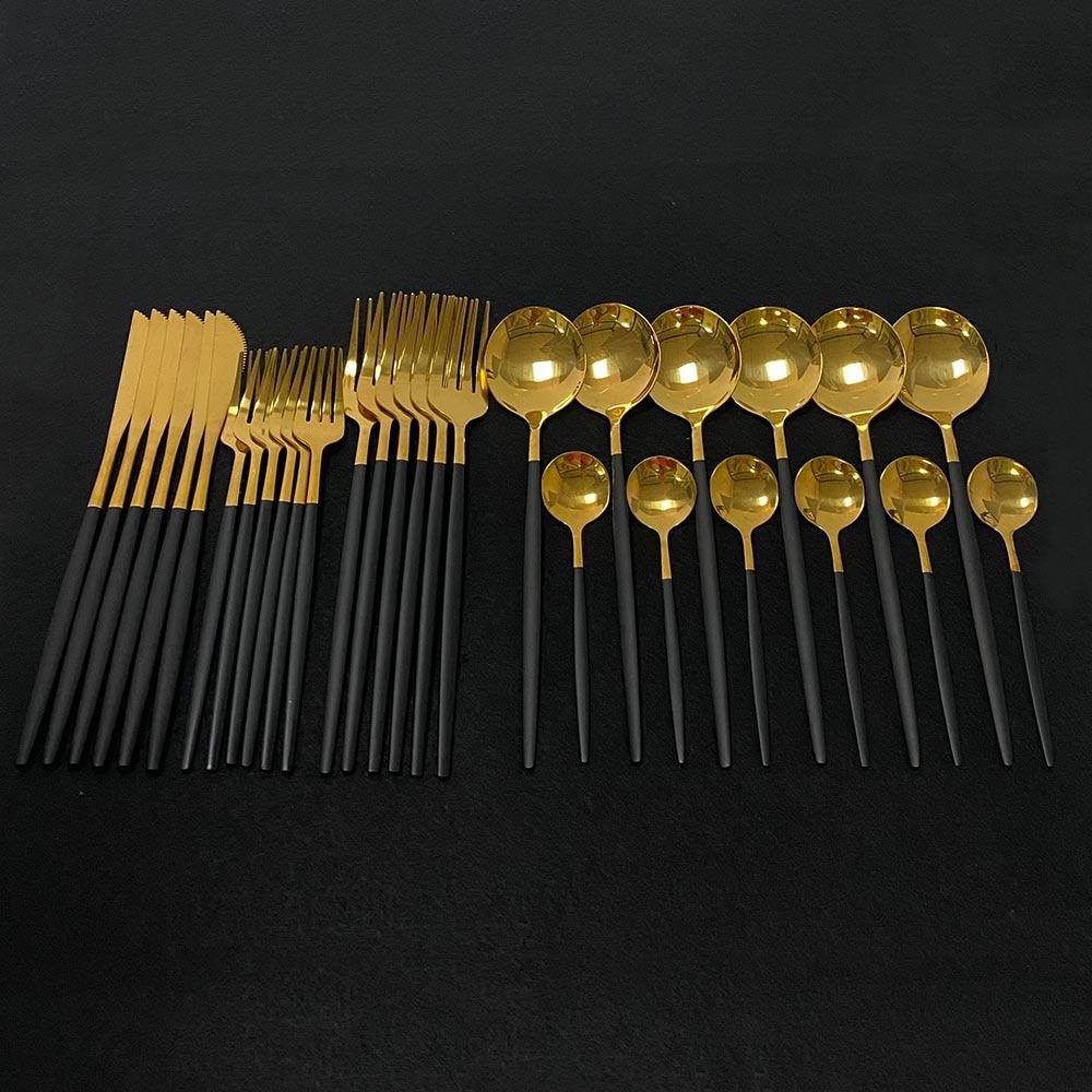Черный набор столовых приборов золотистого 30 шт 304 Нержавеющаясталь набор посуды Ножи вилка, кофейная ложка посуда Кухня ужин набор серебр...