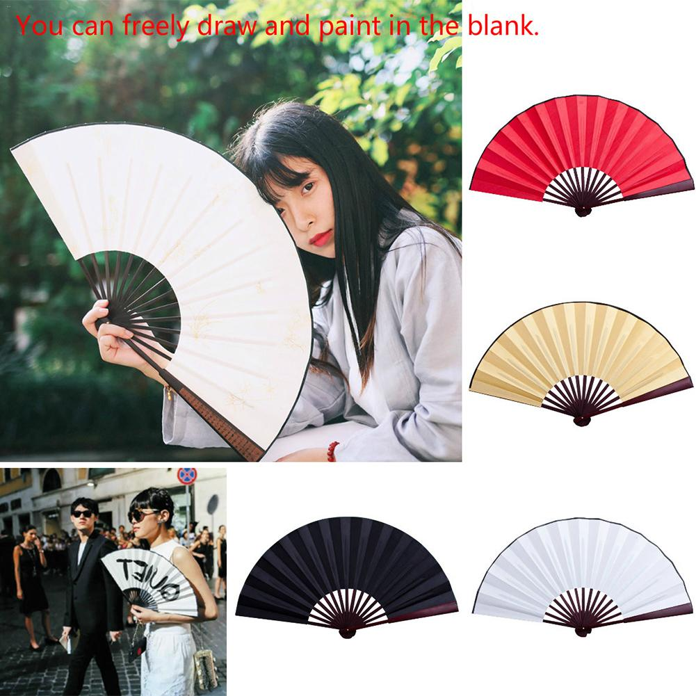 8 Inch/10inch Folding Fan Hand Silk Cloth Blank Chinese Folding Fan Wooden Bamboo Antiquity Folding Fan For Calligraphy Painting
