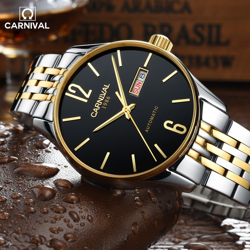 CARNIVAL Luxury Double Calendar Design Automatic Mechanical Men Watch Stainless Steel Case Waterproof Watches Relogio Masculino enlarge