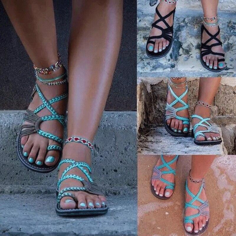 Nuevo verano Europa las mujeres Sandalias planas Roma de moda sandalias casuales de playa zapatos de mujer cuerda de Color mezclado Slip-On de talla grande 35-44
