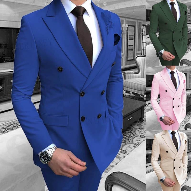 بدلة رجالية باللون الأزرق الملكي ، بدلة مزدوجة الصدر ، نحيف ، سهرة رسمية ، بدلة زفاف ، بليزر مع بنطلون