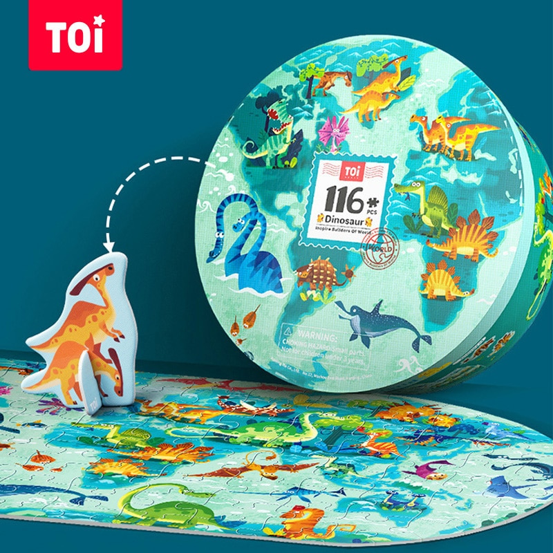 TOI Children Puzzle 116/246PCS World Map/Dinosaur Jigsaw Montessori Kid Educational Toy for 5-7Year Old Child Enlightenment Gift