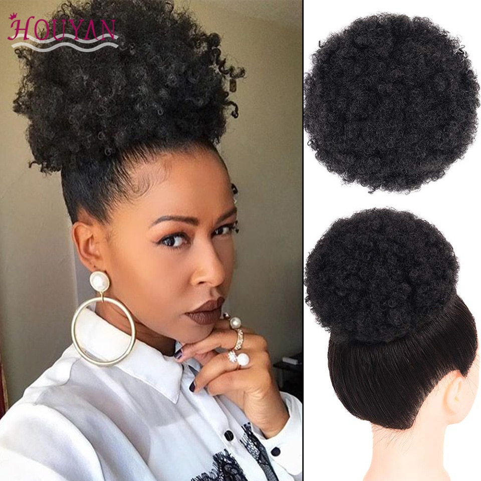 HOUYAN africano esponjoso Afro Artificial mujer cordón Puff moño Puffs Ponytails envoltura de moño Natural Hair Styling accesorio