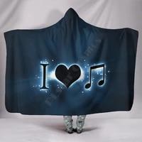 i heart music 3d printed wearable blanket adults for kids various types hooded blanket fleece blanket 01