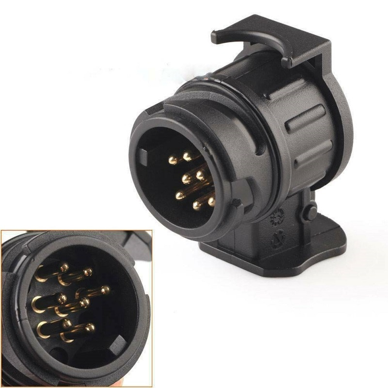 12v plastic trailer adapter connector 7 pin to 13 pin caravan electrical signal converter adaptor towbar towing socket Waterproof 13 To 7 Pin Plug Adapter Trailer Connector 12V Towbar Towing Plugs Socket Adapter Protect Connections A30 Universal