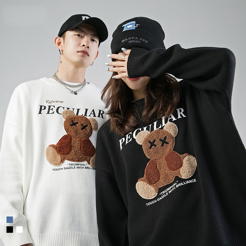Couple Cartoon Bear Print Sweater Japanese Fashion O-Neck Loose Casual Lazy Autumn Winter Knitted Pullover Harajuku Streetwear