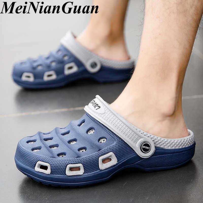 Chinelos de verão dos homens luz suave sapatos moda croc casual homens sandálias homem plano chinelos interior praia masculino tamancos sapatos b5