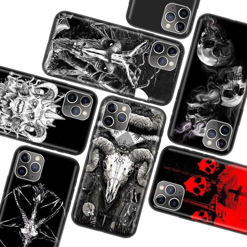 Funda negra satánica Skull para Apple iPhone 11 Pro XR 7 8 6 6S Plus X XS MAX 5 5S SE funda de silicona suave TPU para teléfono