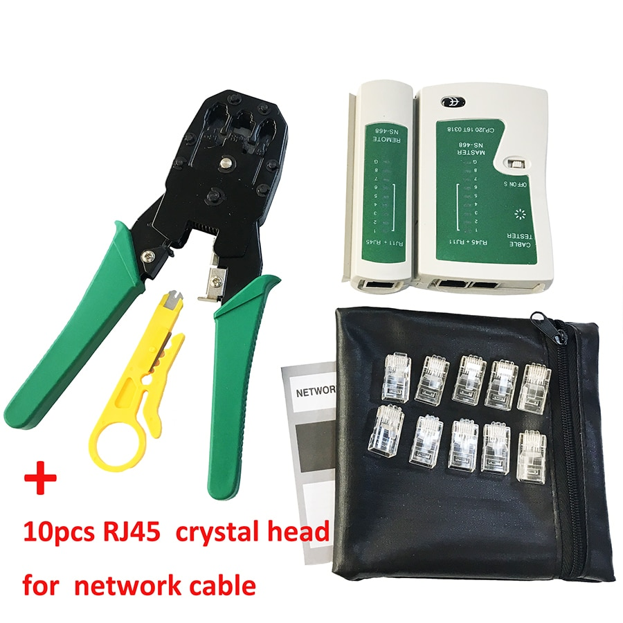 Stripping Crimping Pliers Network Cable Clamp Pliers +Professional Network Cable Tester RJ45 RJ11 RJ