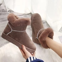 2020 women winter snow boots warm flat plus size platform slip on ladies women warm shoes new flock fur suede ankle boots female