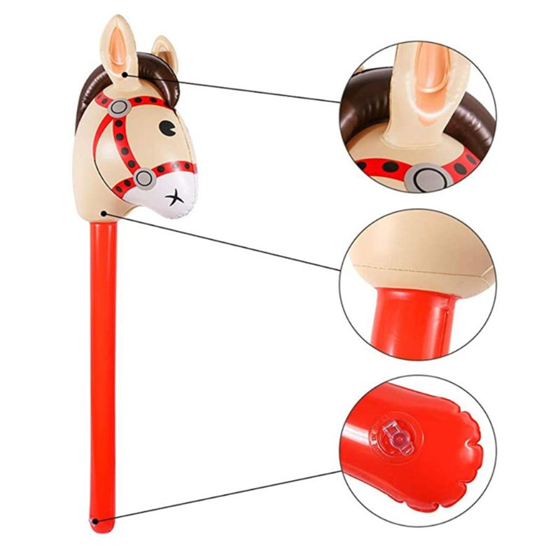Inflatable Horse Heads Cowgirl Stick PVC Balloon Outdoor Educational Toys Gifts M89C
