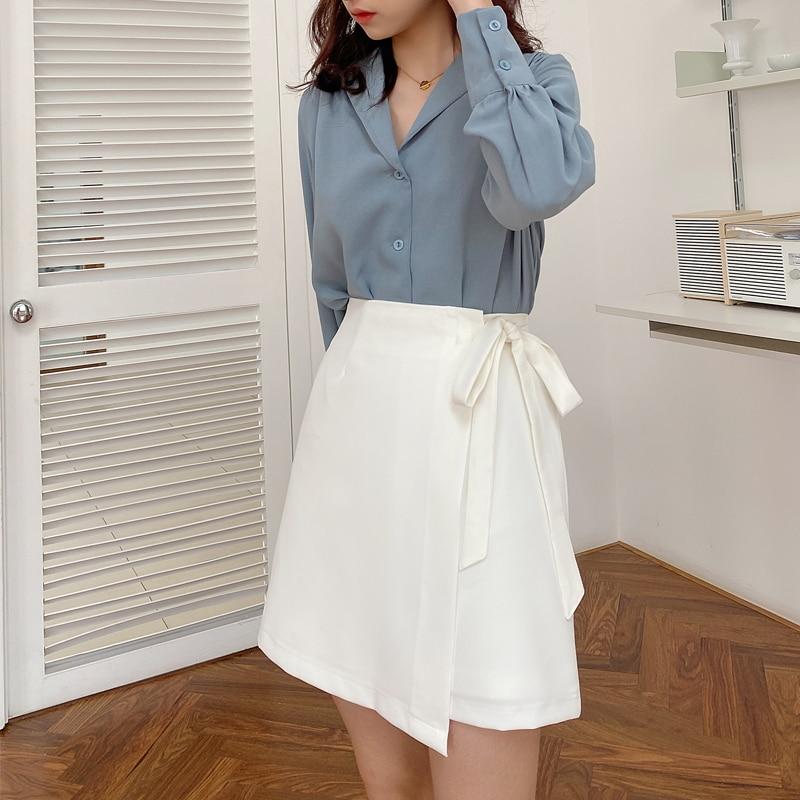 White Irregular Skirt Women's 2021 Summer High Waist Early Spring Short Skirt Anti-Exposure A- line