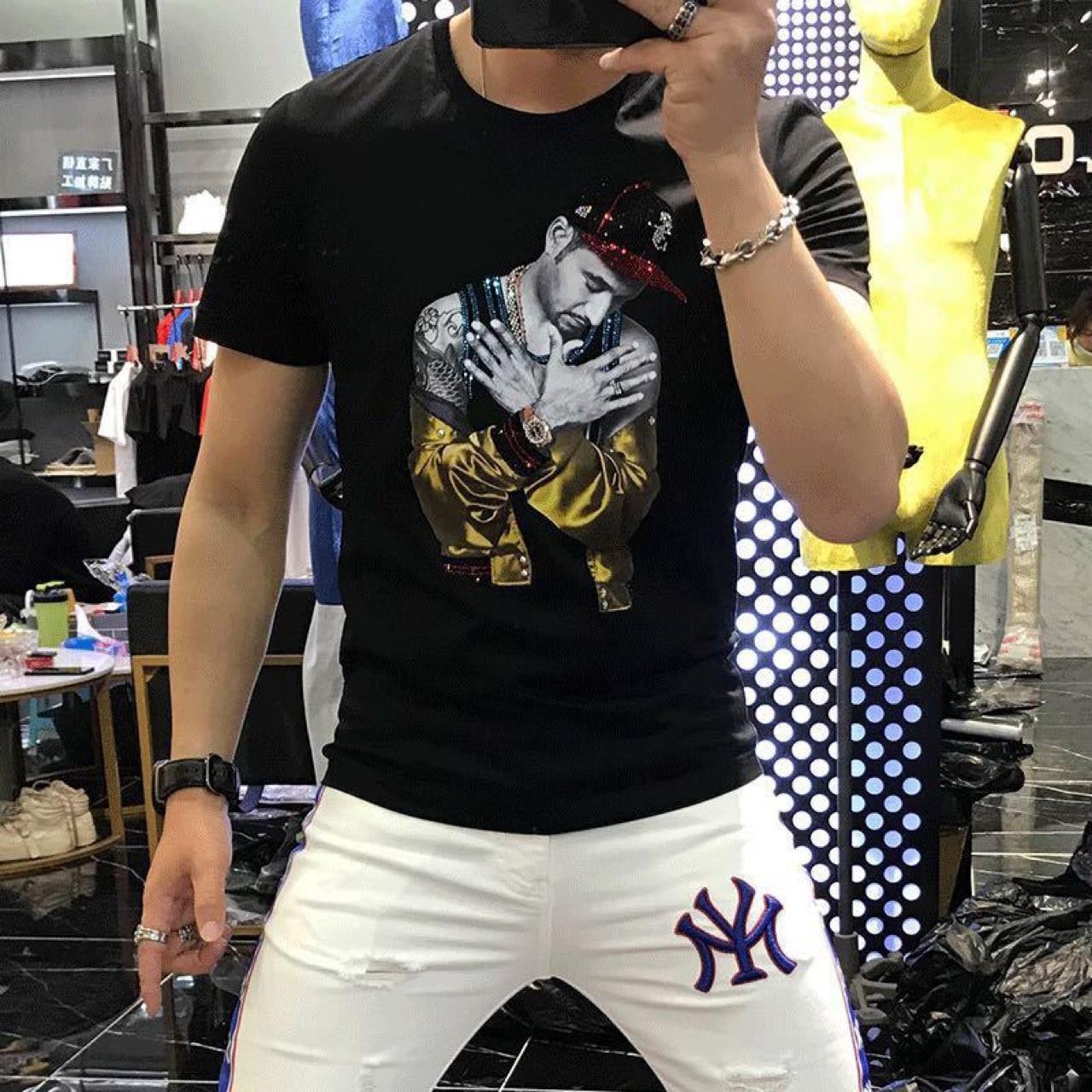 Mercerized Cotton Short-sleeved T-shirt Men's Summer Self-cultivation European Tide Brand Round Neck Printing Comfort