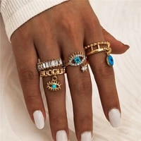 4pcsset gold color evil eye rings for women vintage boho crystal knuckle ring set female party jewelry gift