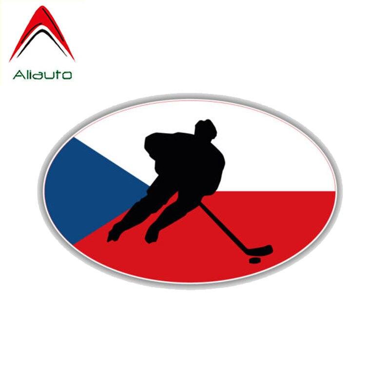 Etiqueta engomada del coche de la motocicleta de la historieta de Aliauto bandera de la República Checa accesorios de Hockey impermeable reflectante etiqueta creativa PVC, 11cm * 6cm