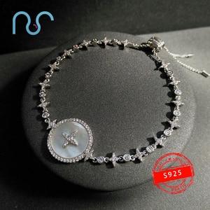 popzone s925 sterling silver bracelet classic star mother shell bracelet women fashion Korean pop style hand jewelry new gift