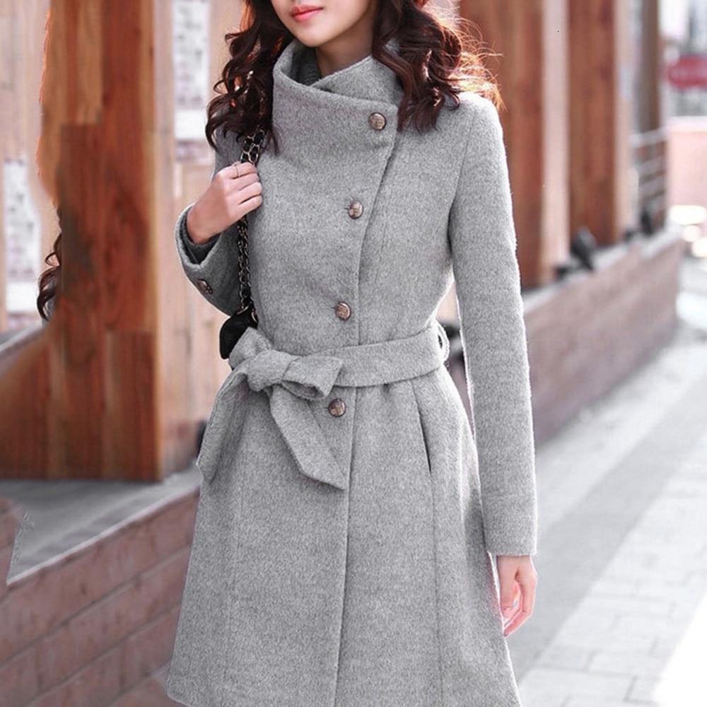 Зимнее пальто, Женское зимнее шерстяное пальто с отворотом, Тренч, пальто с длинным рукавом, верхняя одежда, большой размер, длинный серый пл...