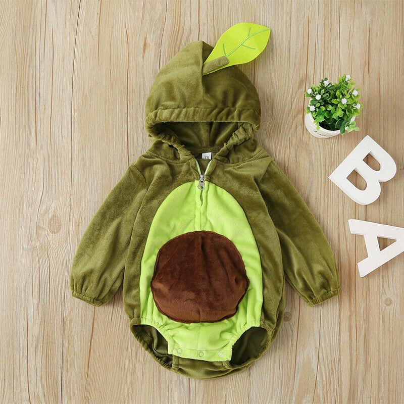 Рождественский детский комбинезон с авокадо для мальчиков и девочек, теплый комбинезон с длинными рукавами и меховым капюшоном, зимняя Рождественская одежда для малышей, костюм для малышей от 6 до 24 месяцев