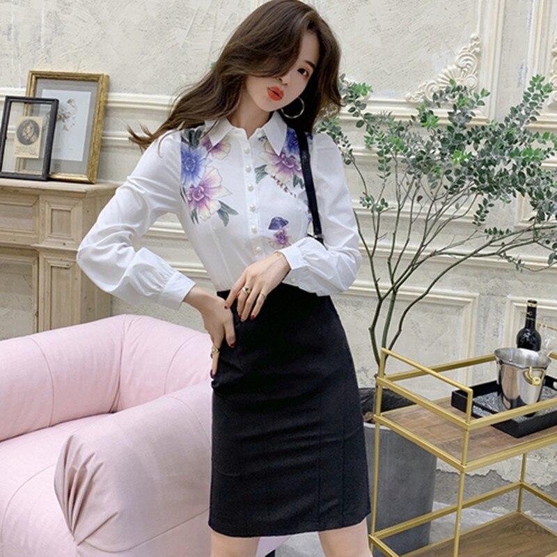Otoño moda Oficina 0L conjunto de 2 piezas de mujer Grace Blanco camisa de manga larga de impresión de flores + negro adelgazamiento Midi falda traje