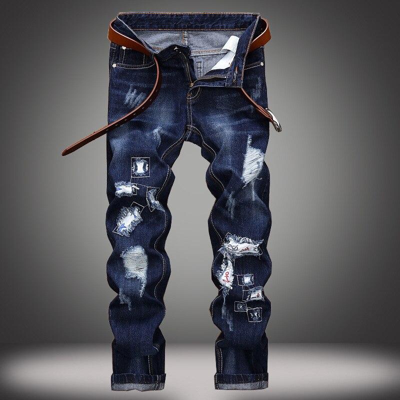 Мужские прямые джинсовые брюки тонкие повседневные брюки мужские байкер мото джинсы Узкие прямые состаренные джинсы брюки