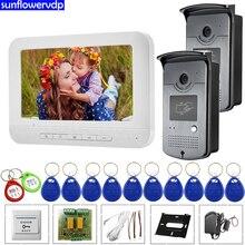 7inchs дверной звонок с камерой и экраном видео дверной звонок Rfid карты разблокировка камеры интеркомы для частного дома домофон