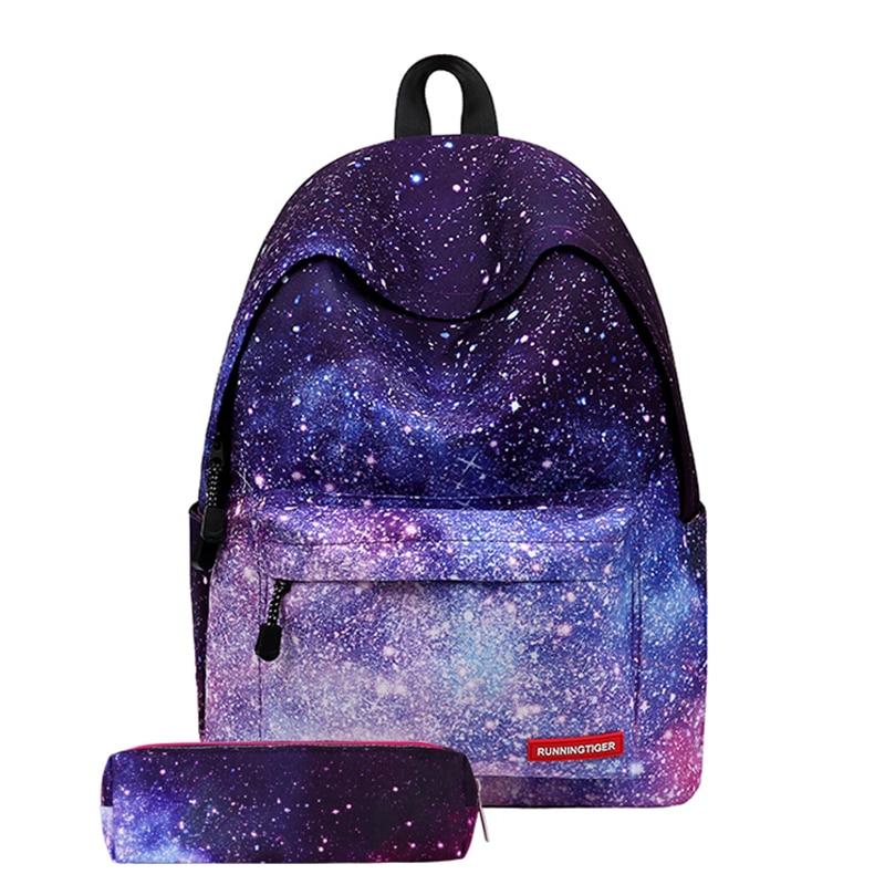 Nowy Galaxy gwiazda plecak dla dziewczyn młodzieży szkolnej kosmos drukowania płótna zestaw z plecakiem sznurek torba Mochila torba na buty plecak