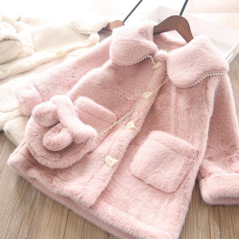الفتيات معطف الفرو لفصل الشتاء 2021 موضة جديدة للأطفال رداء علوي من الصوف الطفل منتصف طول تقليد الأرنب معطف الفرو