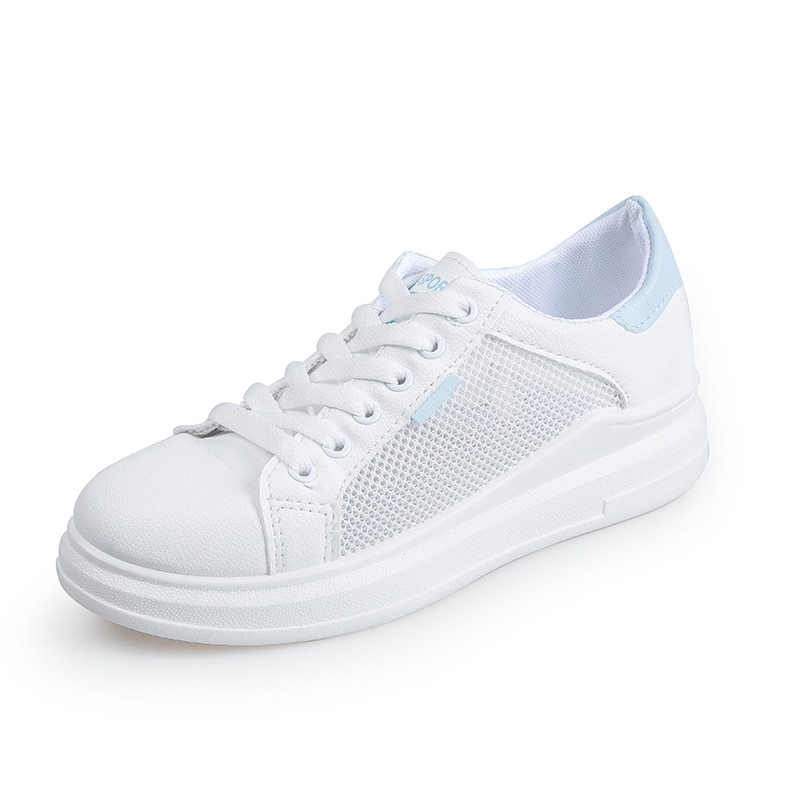 Free Shipping Women White Sneakers Platform Shoes 2020 New Summer Lace Up Hollow Fashion Trainers