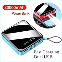 30000mah mini mobile power bank led flashlight power display portable charger for fast charging for xiaomi