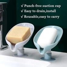 Soporte de jabón en forma de hoja, jabonera en una ventosa, estante de drenaje, jabonera para baño, caja de detergente para inodoro, soporte de envío directo