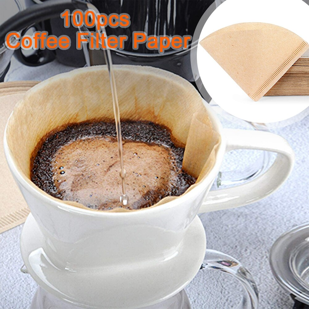 100 PCS Drip Paper 1-4 Cups Coffee Filters No Blowouts Natural Unbleached Maker Filter, Fit
