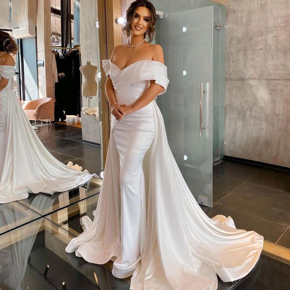 أنيقة حورية البحر فستان الزفاف 2021 ماتي الساتان طويل رسمي العروس ارتداء الخامس الرقبة قبالة الكتف أكثر من تنورة فستان زفاف مخصص