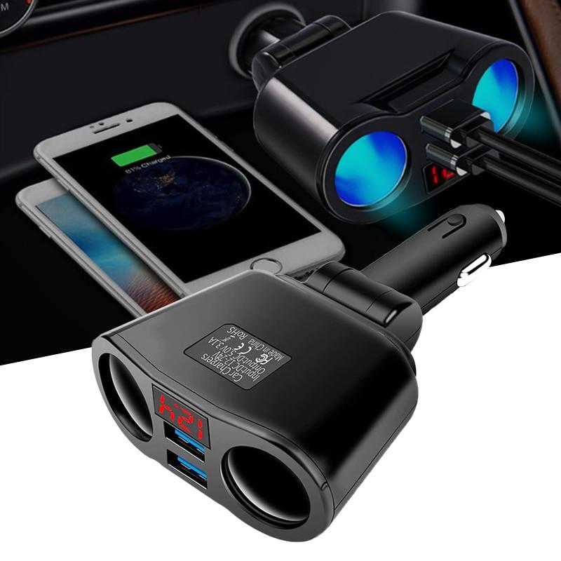 3.1A Dual Usb Snelle Autolader 2 Poort Lcd Display Power Adapter Voor Hyundai Santa Fe Getz I20 Sonata Ix25 i40 I10 Coupe I20