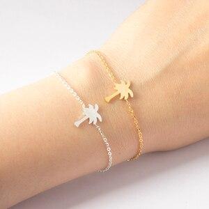 Stainless Steel Jewelry Gold Color Palm Tree Bileklik Bracelet Men Tropical Coconut Bracelets & Bangles For Women Pulseras Mujer