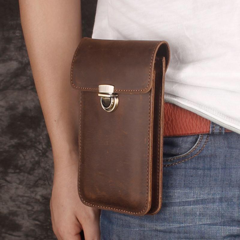 الفاخرة جلد طبيعي الخصر حقيبة العام الهاتف حقيبة الحقيبة Vintage قضية الهاتف رجل حزام حقيبة الهاتف حلقة الحافظة آيفون سامسونج