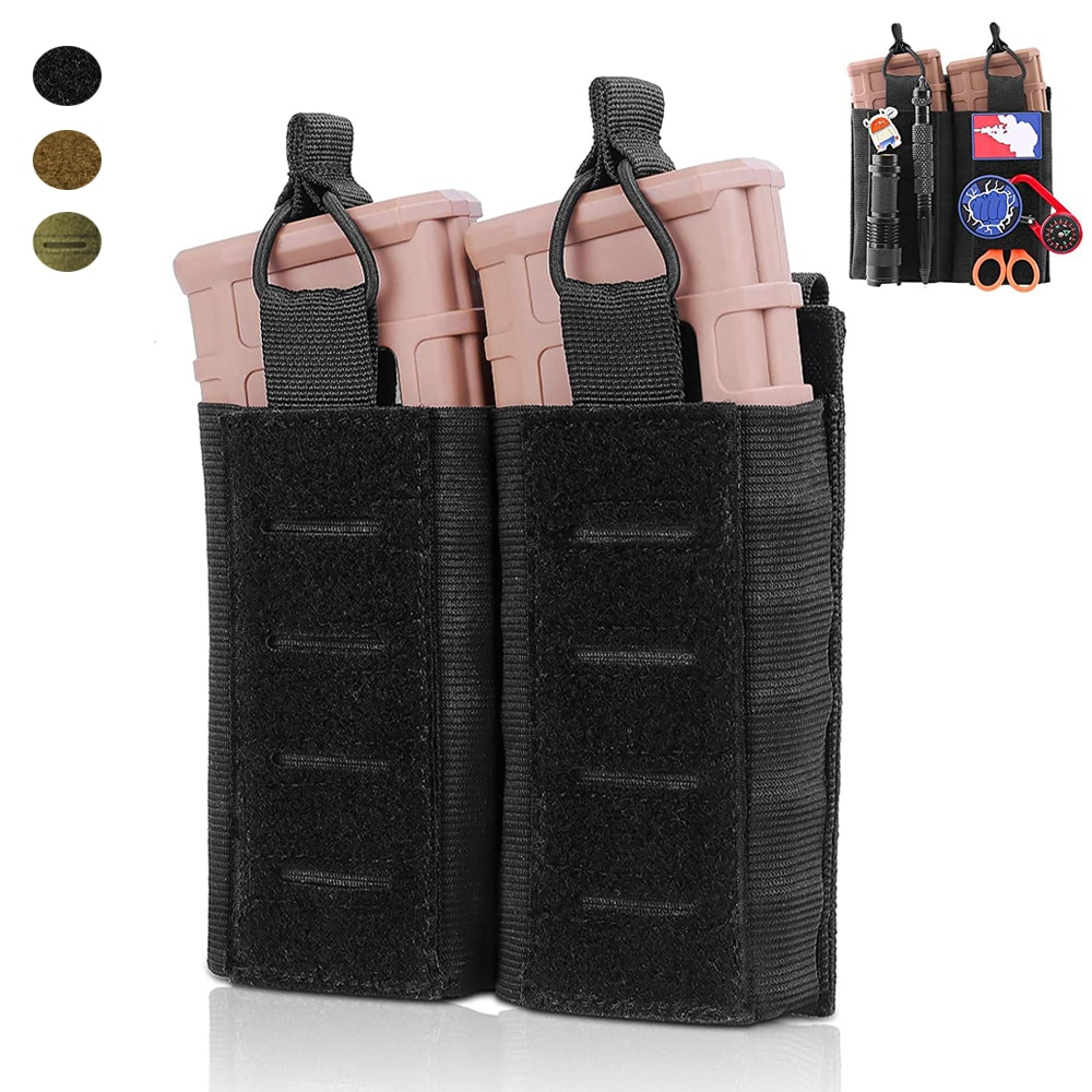 Tactical Molle Double Magazine Pouch Airsoft Rifle Pistol Mag Holder Carrier Open-Top Hunting Mags Bag with front Loop Surface