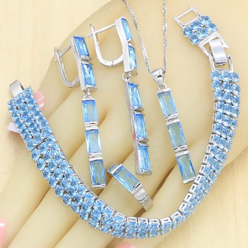 Céu azul semi-precioso conjuntos de jóias para mulher pulseira brincos longos anéis colar pingente caixa de presente