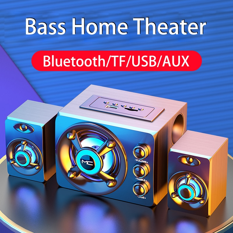 2020 LED Computer Combination Speakers AUX USB Wired Wireless Bluetooth Audio System Home Theater Su