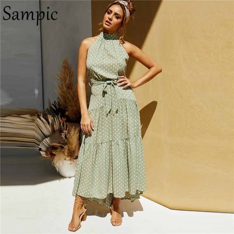 Sampic halter white long sleeveless loose off shoulder bandage polka dot dress black casual beach summer dress sundress 2020