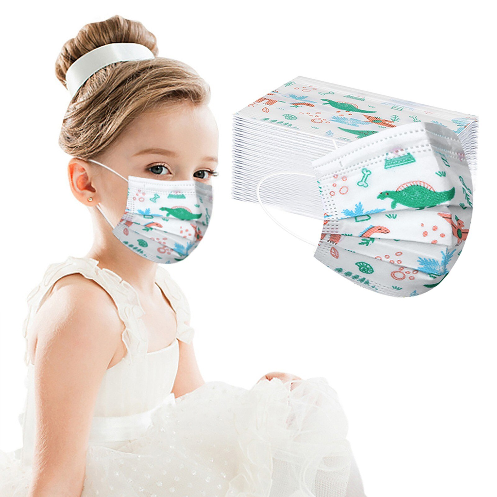 Dinosaurios desechables máscara para niños Haze a prueba de polvo a prueba...